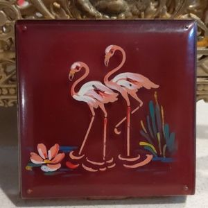 Vintage large red lucite flamingo compact